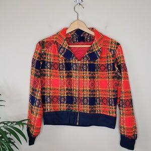 Handmade | 70s Tapestry Plaid Zip Cropped Jacket